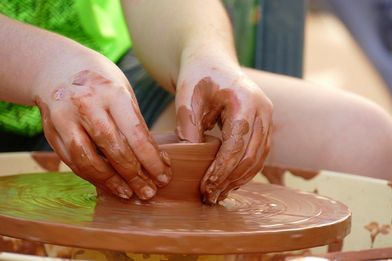 pottery, clay, wheel